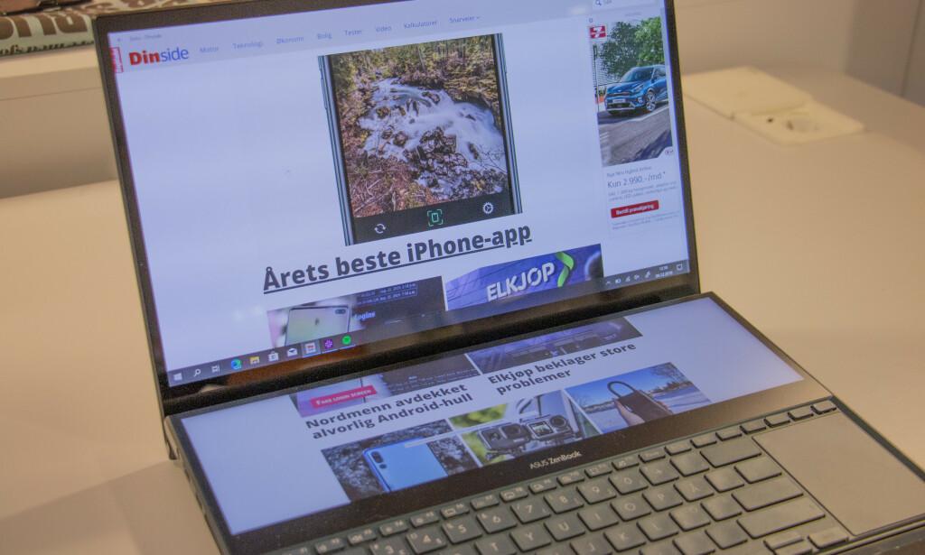 VIEWMAX: En av muligheten du har med Asus ScreenPad. Foto: Martin Kynningsrud Størbu