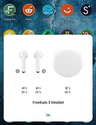 Denne spretter opp på skjermen når du åpner lokket på Freebuds 3 - i hvert fall på Huawei-telefoner av nyere årgang. Foto: Pål Joakim Pollen