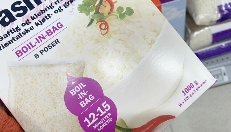 ENKLERE ENN BOIL IN BAG? Du sparer plast, brente fingre og dyrere produkt - men vi er ikke overbevist om at boil in box er enklere enn å koke vanlig ris i en vanlig kjele. Foto: Kristin Sørdal
