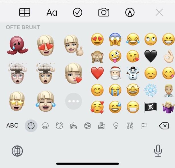 SKJUL DISSE: I iOS 13.3 kan du gå til Innstillinger > Generelt > Tastatur og skru av Memoji-klistremerker for å få de vekk fra Emoji-tastaturet ditt. Skjermbilde: Kirsti Østvang