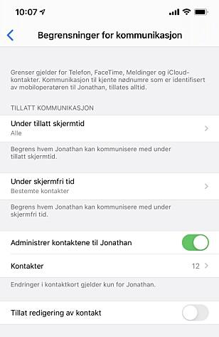 KUN FOR APPLE-APPER: De nye kommunikasjonsbegrensningene i skjermtid-funksjonen gjelder kun for Apples egne apper. Skjermbilde: Kirsti Østvang