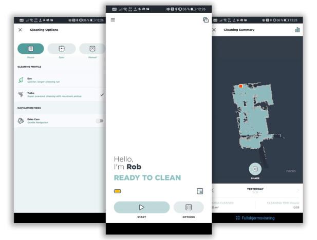 REN APP: Appen viser deg kart når roboten er ferdig med rengjøringen, men du får ikke fulgt den i sanntid. Foto: Pål Joakim Pollen