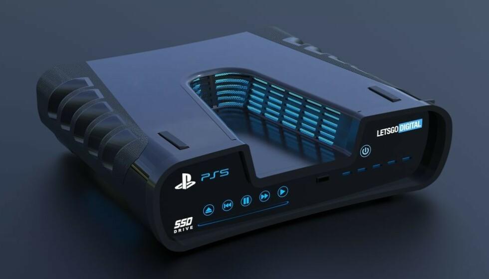 PLAYSTATION 5-KONSEPT: Skissen er spenstig, men vi blir mildt sagt overrasket hvis den endelige PlayStation 5 blir seende slik ut. Foto: Let's Go Digital