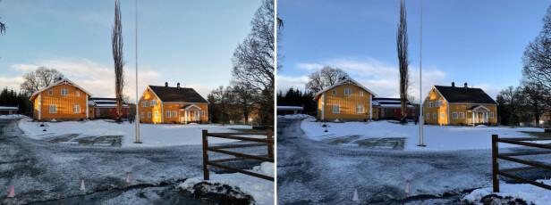 Her ser du et eksempel der Nova 5T (t.v) har eksponert motivet bedre enn iPhone Xs Max (t.h). Foto: Bjørn Eirik Loftås