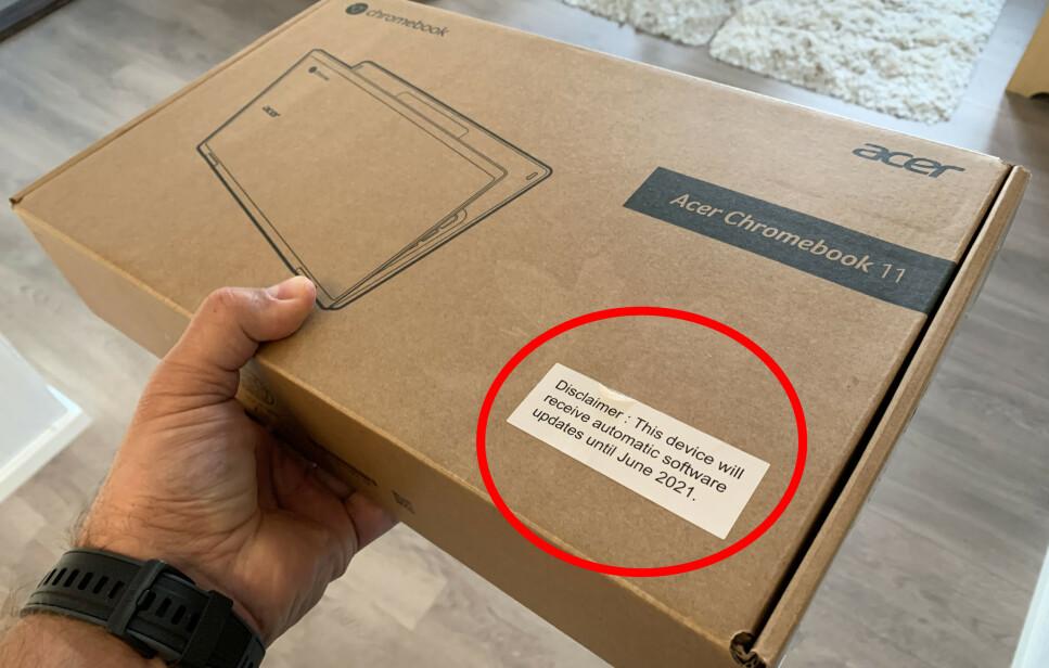 SLUTT OM HALVANNET ÅR: Chromebooken vi kjøpte på Black Friday, vil bare motta oppdateringer til juni 2021. Foto: Bjørn Eirik Loftås