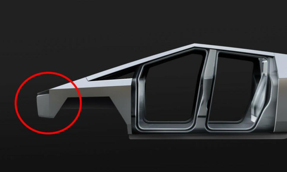 HARD: Den harde fronten gir størst grunn til bekymring. Hvertfall dersom den fortsatt skal lages i rustfritt stål, slik konseptbilen er. Skal seksjonen lages i plast, blir det så og si umulig å oppnå samme finish på overflatene. Foto: Tesla