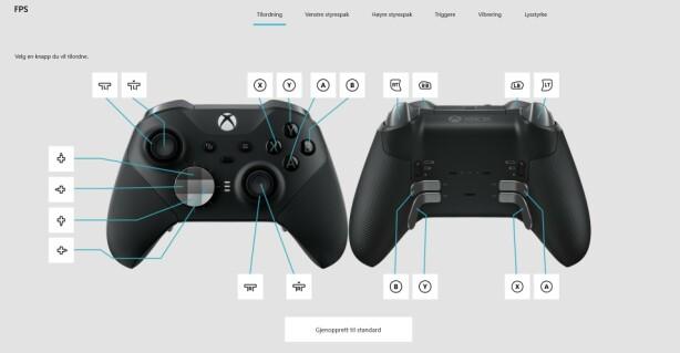 XBOX-APP: Dette er en av mange måter å tilpasse Xboz One-kontrolleren på. Foto: Skjermdump