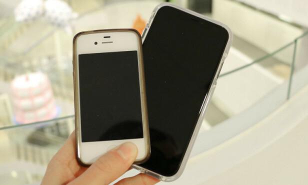 #1: Apple iPhone 4, her sammenlignet med iPhone Xr, som kom åtte år senere. Foto: Eilin Lindvoll