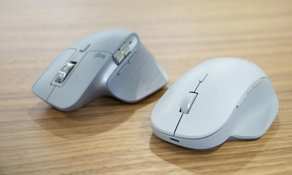 LOGITECH MOT MICROSOFT: To kontorfavoritter møtes til duell: Master MX 3 og Surface Precision Mouse. Foto: Martin Kynningsrud Størbu