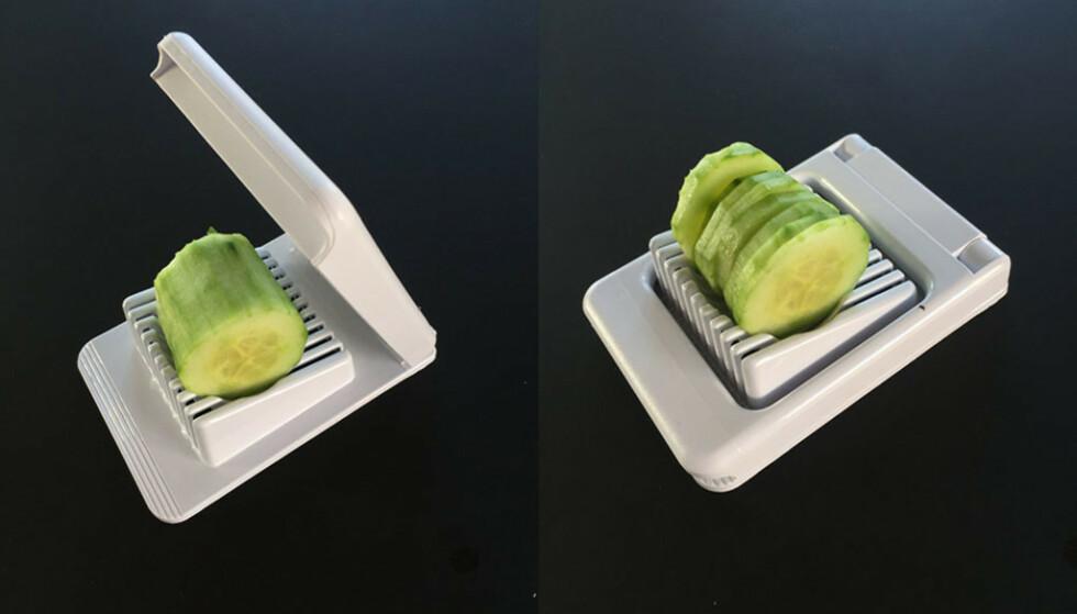 Du kan dele en skrelt agurk opp i biter. Foto: Linn Merete Rognø.