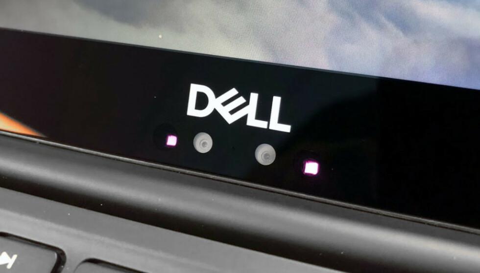 IKKE BRA: Webkamera nederst på skjermen gir en veldig skrå vinkel mot ansiktet, noe som fremhever dobbelthaker. Heldigvis er kameraet flyttet til toppen i årets XPS 13. Foto: B. Loftås