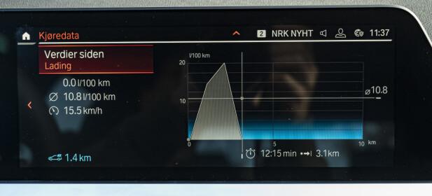 OMFATTENDE: BMW har en bra kjørecomputer med mange oppsett og er fin å følge med på for de som er interessert i lavt forbruk. Foto: Jamieson Pothecary