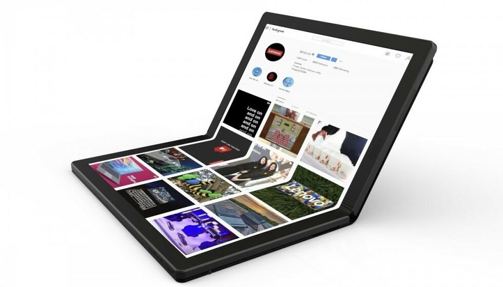 THINKPAD X1 FOLD: I år kommer den første bærbare PC-en med brettbar skjerm. Lenovo er først ut med ThinkPad X1 Fold. Foto: Lenovo