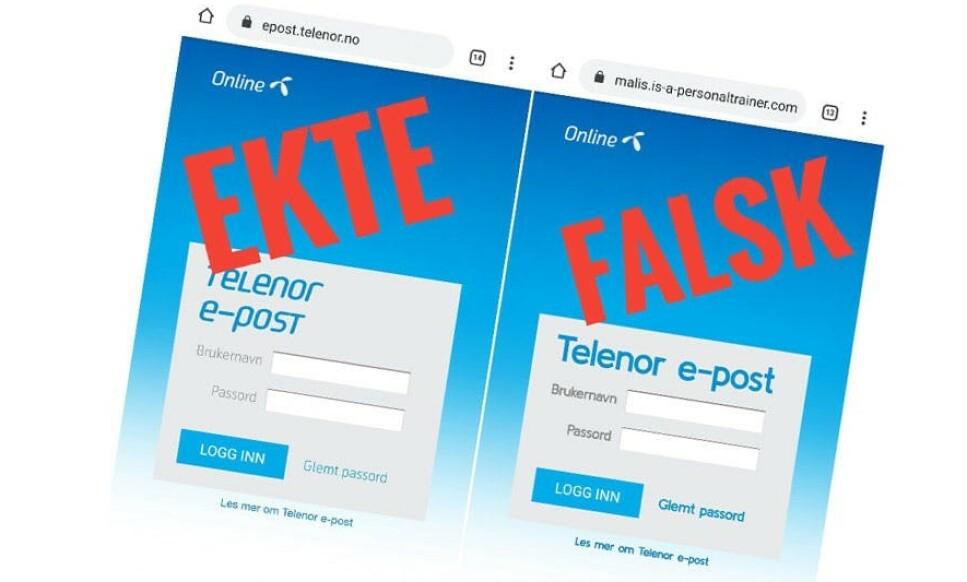 PASS PÅ: En falsk Online.no-side spres via e-poster. Siden prøver å lure til seg brukernavn og passord fra Telenor-kunder. Foto: Datahjelperne