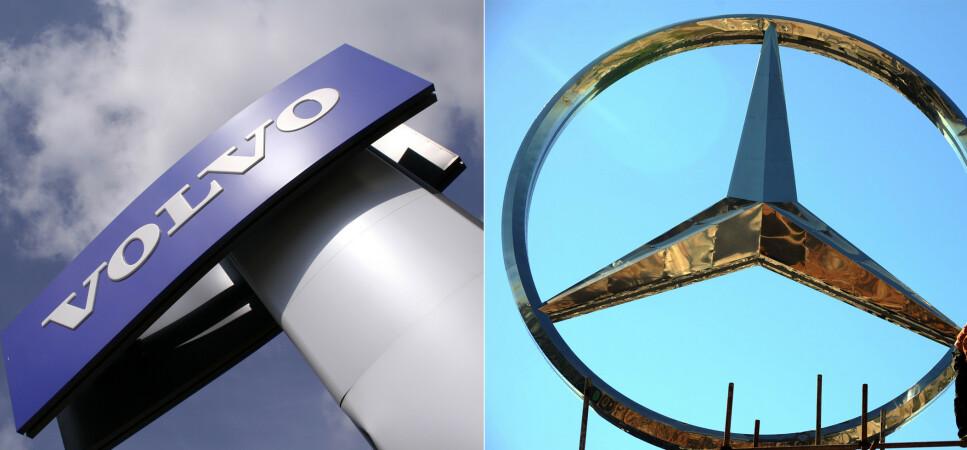 SKAL SAMARBEIDE: Volvo-eier Geely har kjøpt 10 prosent av Mercedes-eier Daimler. Det gjør at de to merkene trolig skal samarbeide om utvikling av forbrenningsmotorer. Foto: Shutterstock/NTB Scanpix/Reuters