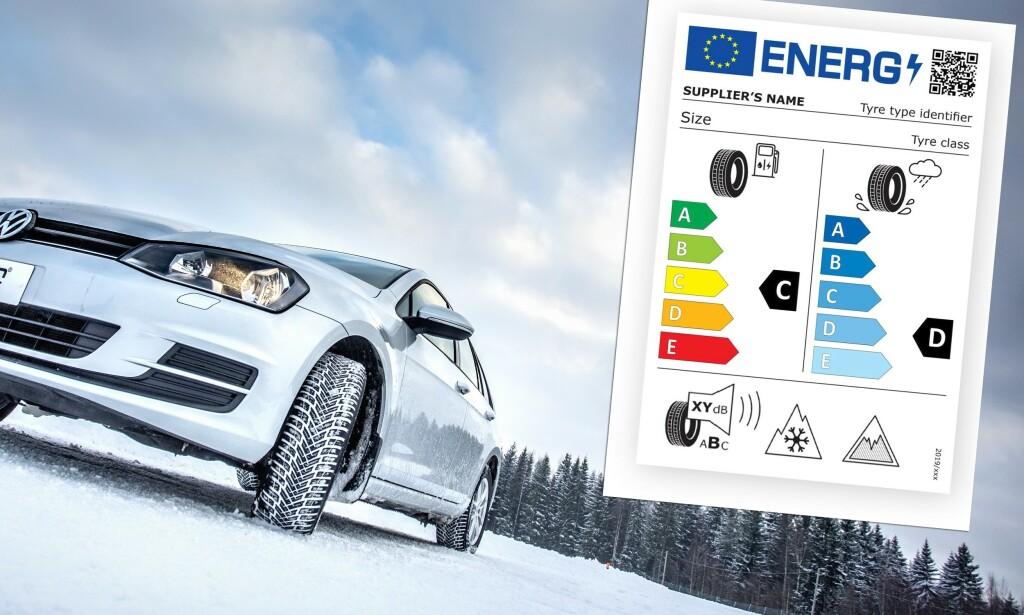TO NYE SYMBOLER: To nye symboler, et «fjell» med snøkrystall og et «fjell» inne i en trekant, viser at dekket egner seg for kjøring på norske vinterveier. Foto: Nokia