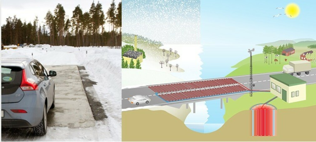 SOLVARME: Solen varmer opp vannet i grunnvannsbassenget, slik at varmen kan brukes til smelting av is og snø om vinteren. Ill: Chalmers