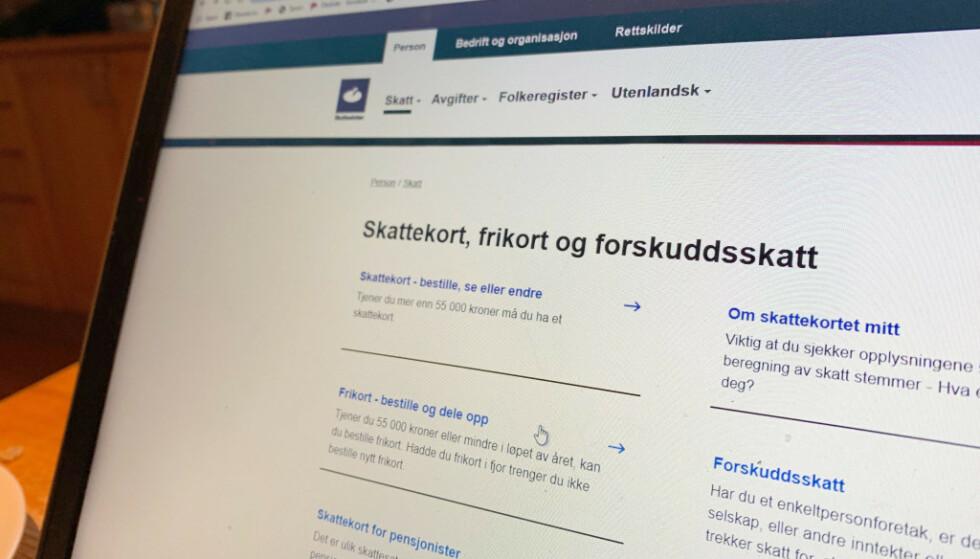 ENDRE SKATTEKORT: Ta en sjekk nå, så kan du unngå eller begrense restskatten neste år. Foto: Berit B. Njarga.