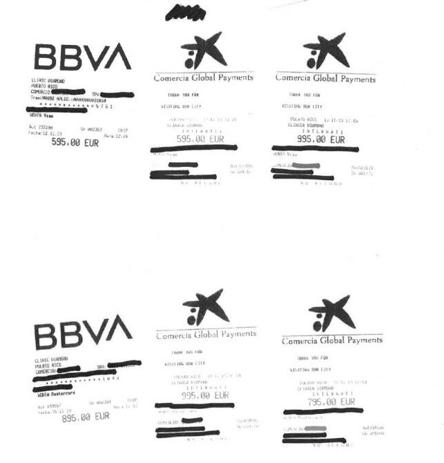 KVITTERINGENE: Her ser du kvitteringene for legebesøkene til ekteparet i 70-årene. Til sammen kostet legebesøkene nær 50.000 kroner. Foto: Gjensidige.