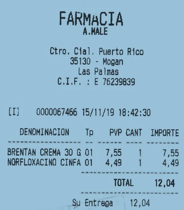 KUNNE VÆRT NOK: Denne kvitteringen fra apoteket på Gran Canaria viser at ekteparet kunne betalt skarve 120 kroner for at mannen skulle bli frisk. Foto: Gjensidige.