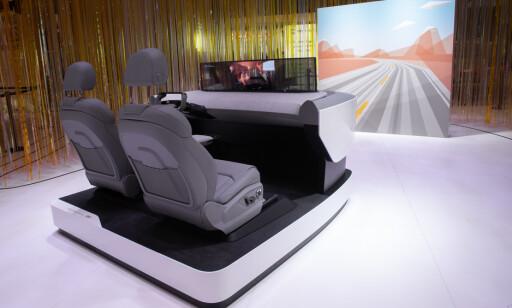 MAKS HØYDE: Skjermen vokser med 10 tommer i høyden og kan brukes for å se film. Foto: Audi