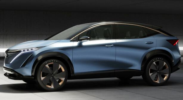 FIREHJULSTREKK: Tesla, Fisker, Byton og nå Nissan kommer med dual motor i sin kommende crossover SUV Ariya. Foto: Nissan