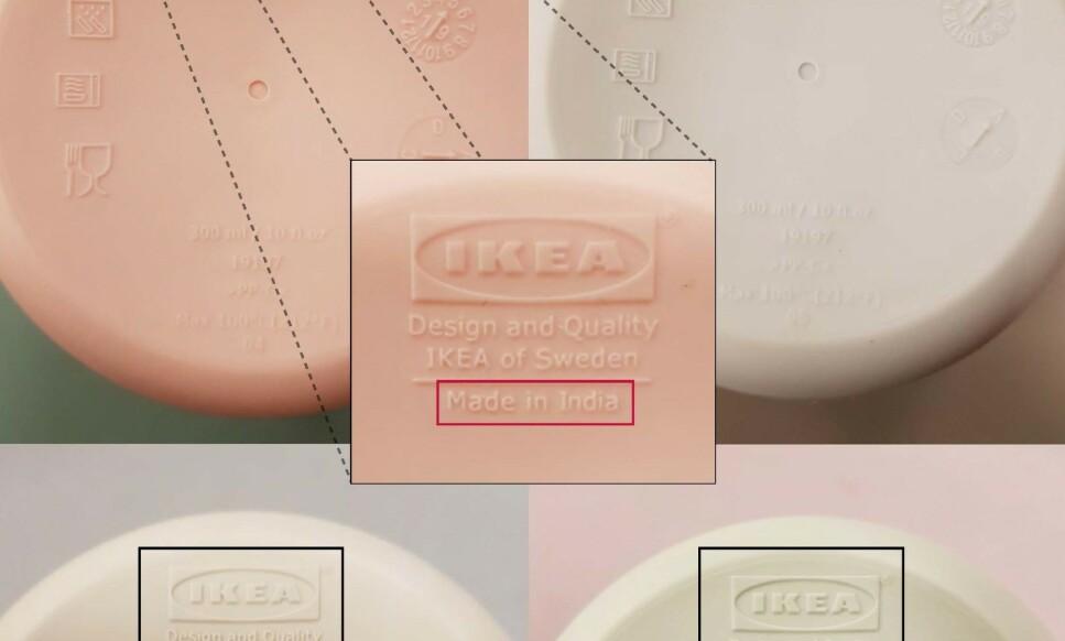 SE OM DU HAR DENNE I KJØKKENSKAPET: Troligvis-koppen har vært i salg hos Ikea siden oktober 2019. Nå ber varehuset alle kunder med kopper som er «Made in India» om å returnere dem. Foto: Ikea.