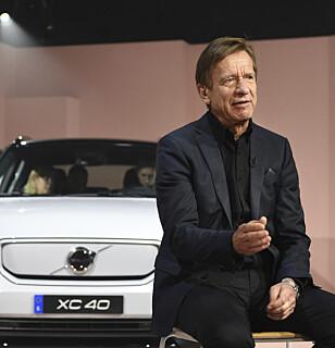 <strong>CEO OG PRESIDENT:</strong> Håkan Samuelsson i Volco Cars avduket XC40 Recharge i 2019. Foto: NTB/Scanpix