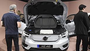 <strong>FRUNK:</strong> Den elektriske versjonen av XC40 har blant annet plass der den fossildrevne utgaven har motor. Foto: NTB/Scanpix
