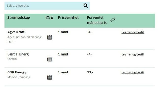NEGATIVE TALL: Her ser du at to strømselskap har negative priser 17. januar. Foto: skjermdump.