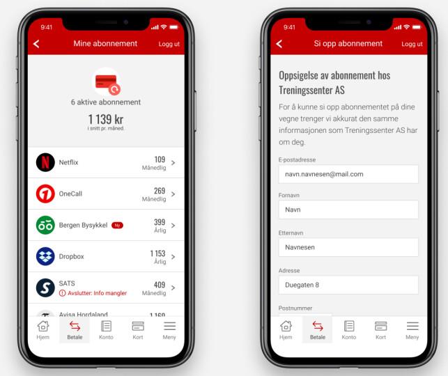 SMART: Sparebanken Vest tilbyr også snart oversikt over abonnementer via mobilbanken. Brukerne kan også si opp abonnementer enkelt. Foto: skjermdump.