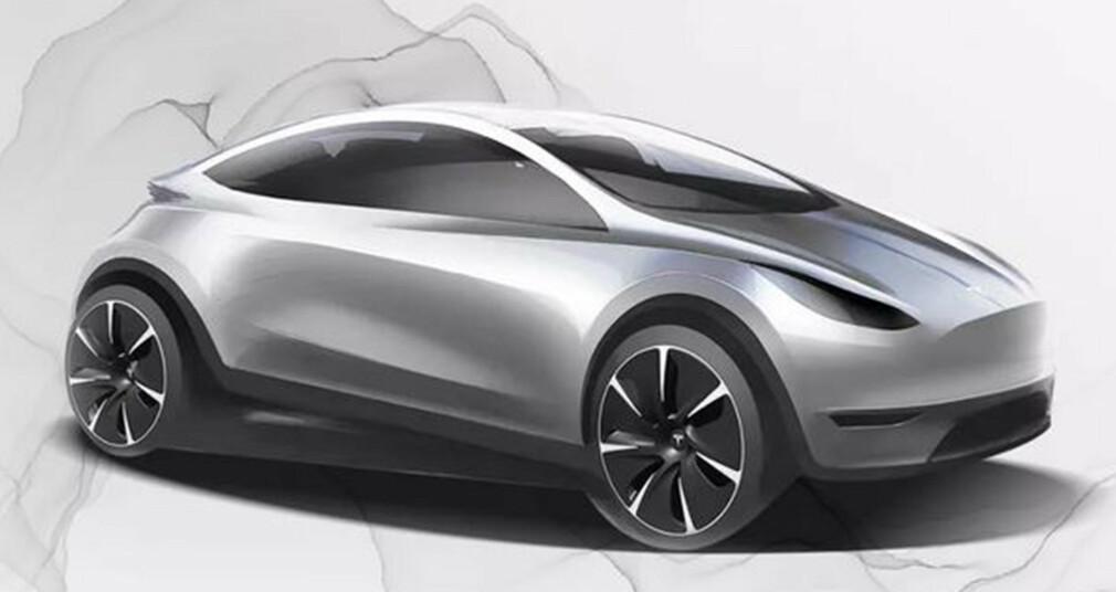 GOLF-STØRRELSE: Denne skissen har skapt store spekulasjoner om en mindre modell fra Tesla. Ill: Tesla.