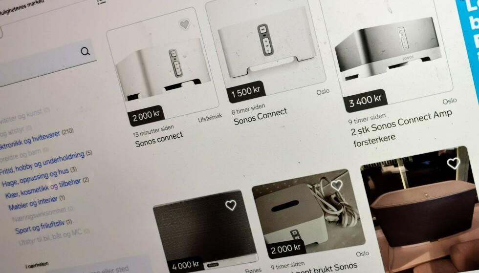 SELGES UNNA: Bare det siste døgnet har det blitt opprettet et titalls annonser på Finn der folk selger unna gamle Sonos-produkter. Foto: Pål Joakim Pollen