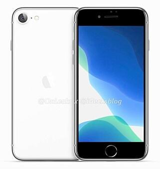 RUNDERE I KANTENE: Den kommende iPhone-modellen kan komme til å se slik ut. Litt større og rundere i kantene enn iPhone SE.