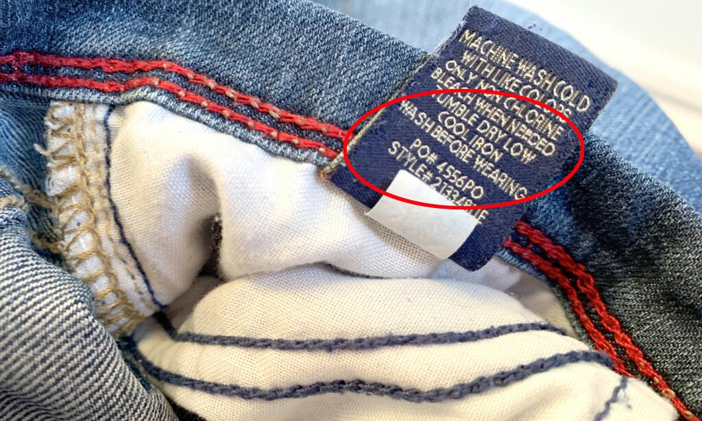 VASK FØR BRUK: Ifølge ekspertene bør du vaske alle klær før du bruker dem, både de det står på og de det ikke står på. Dette er spesielt viktig på kroppsnære plagg, plagg som kan bli våte eller svette og plagg du kan komme til å gå med over lengre tid. Ekspert råder også til å være spesielt varsom ved kjøp av plagg fra nettbutikker utenfor EU. Mer om dét kan du lese nederst i artikkelen. Foto: Kristin Sørdal