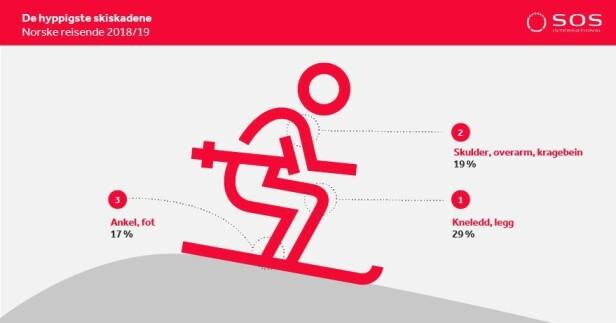 HODE, SKULDER, KNE OG TÅ: Kneskader er de vanligste skadene i skibakken, etterfulgt av skulder- og ankelskader. Kneskadene er ofte dyrere enn de øvrige. Foto: skjermdump.