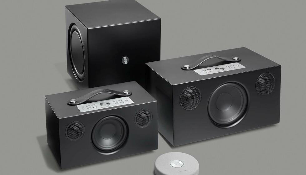 Et utvalg av Audio Pros multiromhøyttalere. Foto: Audio Pro