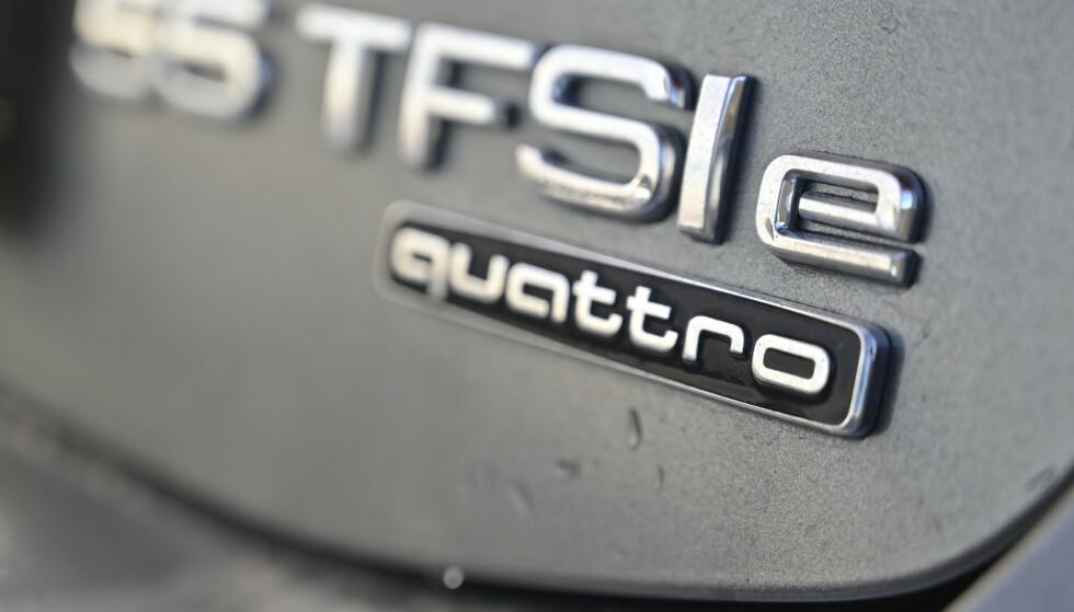 E: Den lille E-en forteller at dette er en ladbar Audi. Fra nå av er e-tron reservert rene elbiler. Foto: Rune M. Nesheim