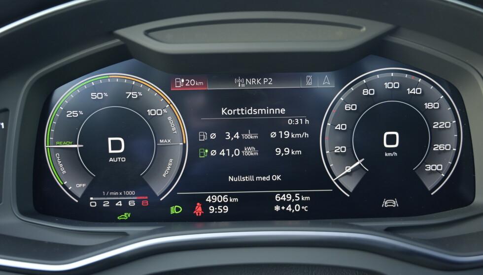 FINNES DET BEDRE? Audi tilbyr vanvittig mye info på kjørecomputeren sin og har samlet logiske elementer på samme visning. Foto;: Rune M. Nesheim