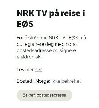 Trykk deg inn her for å bekrefte din norske bostedsadrese.