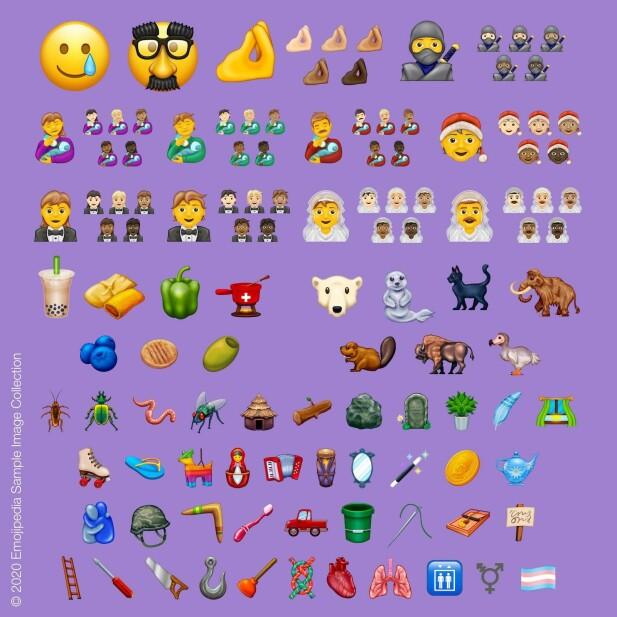 KOMMER SNART: Her er emojiene som kommer til din mobil i løpet av året. Foto: Emojipedia