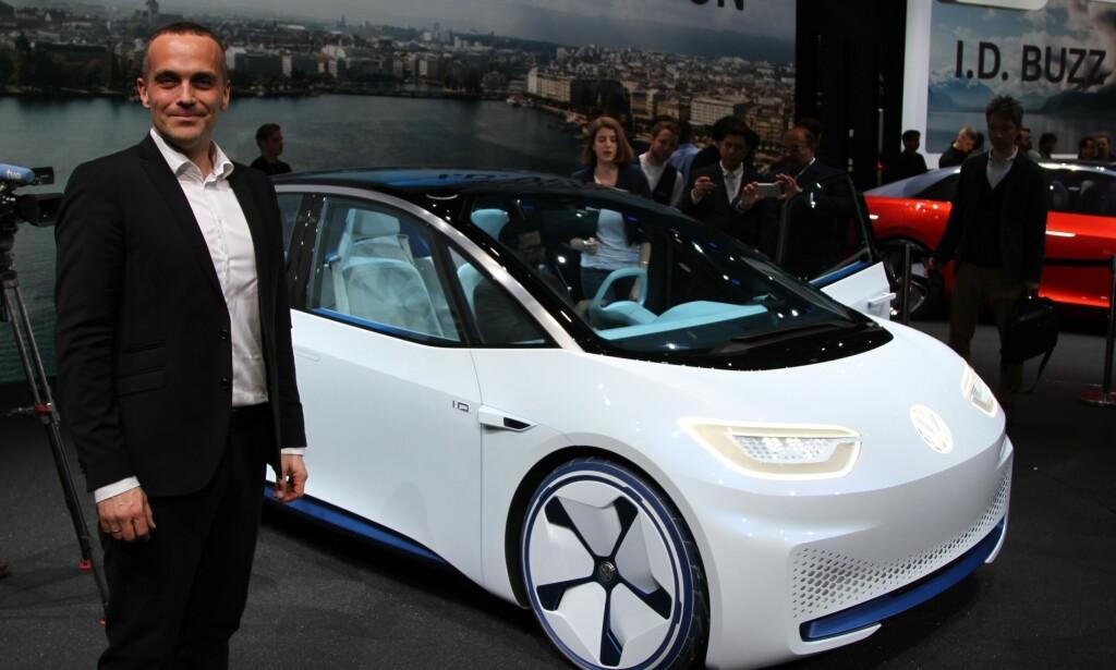 NORGES-BILEN: - Vi har stor tro på at nye ID.3 blir den nye Norges-bilen når den kommer til sommeren, sier VW-sjef Harald Edvardsen-Eibak. Foto: Rune Korsvoll