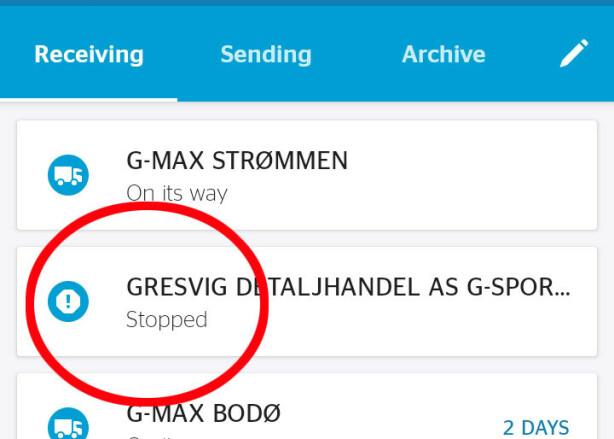 STOPPET: Dette møtte Fredrik da han skulle sjekke hvordan det lå an med levering av pakkene fra G-sport. Nå er han glad alt ser ut til å ordne seg. Skjermdump: Privat