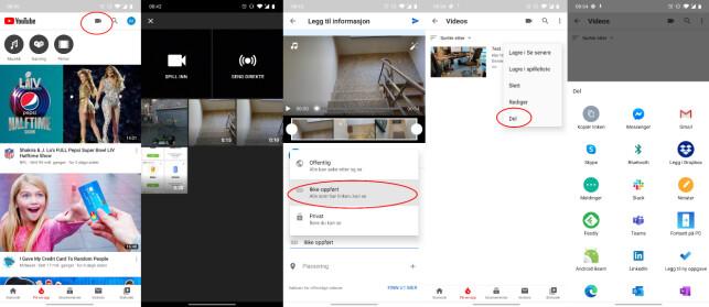 Slik laster du opp og deler videoer på YouTube.