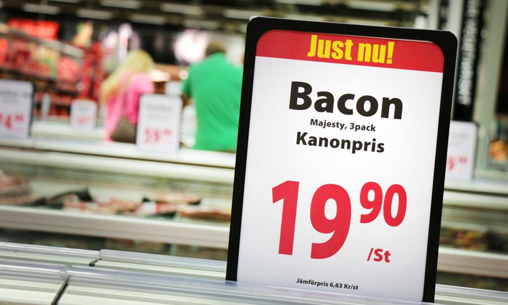 BACONMANKO: Svenske matbutikker melder om mangel på bacon og andre svinevarer. Foto: Ole Petter Baugerød Stokke
