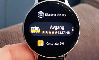 Du kan bla i og laste ned apper direkte på klokka, men beskrivelse og skjermbilder er det lite av. Da er det bedre å bruke telefonen til utforskning. Foto: Pål Joakim Pollen