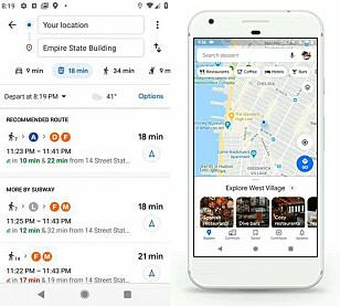 GOOGLE MAPS: Slik er den nye Maps-appen. Foto: Google