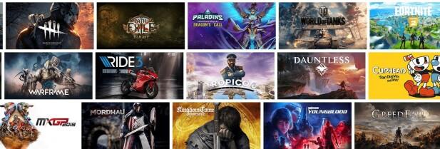 Noen av spillene som støttes av GeForce Now ved lansering. Skjermbilde: Nvidia