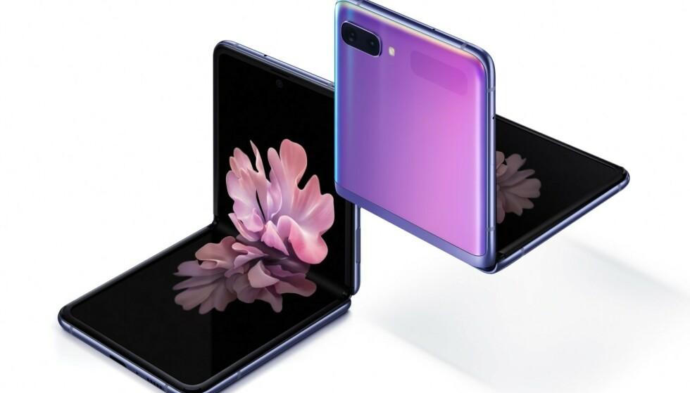 FLIP: Samsungs nye brettbare telefon kan stå av seg selv og kommer i salg 21. februar i Norge. Foto: Samsung