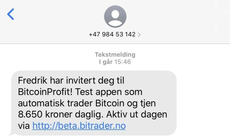 ÉN AV TO: Rett før klokka fire tikket denne SMS-en inn. Noen få timer siden kom en helt lik melding, fra et annet nummer. Foto: skjermdump.
